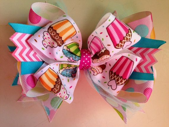 Tulle pink white hair bow in polka dots
