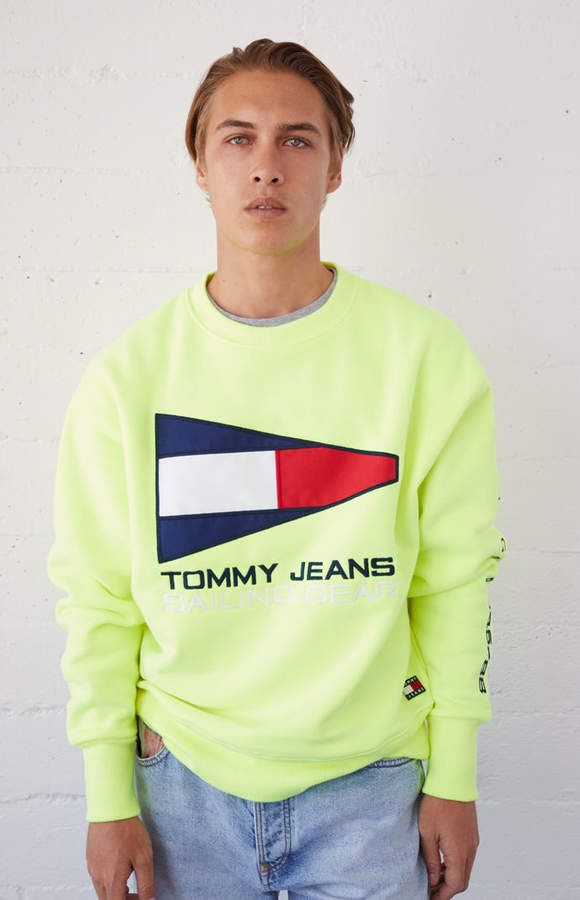 56845909 Tommy Jeans '90s Sailing Logo Neon Crew Neck Sweatshirt | Products
