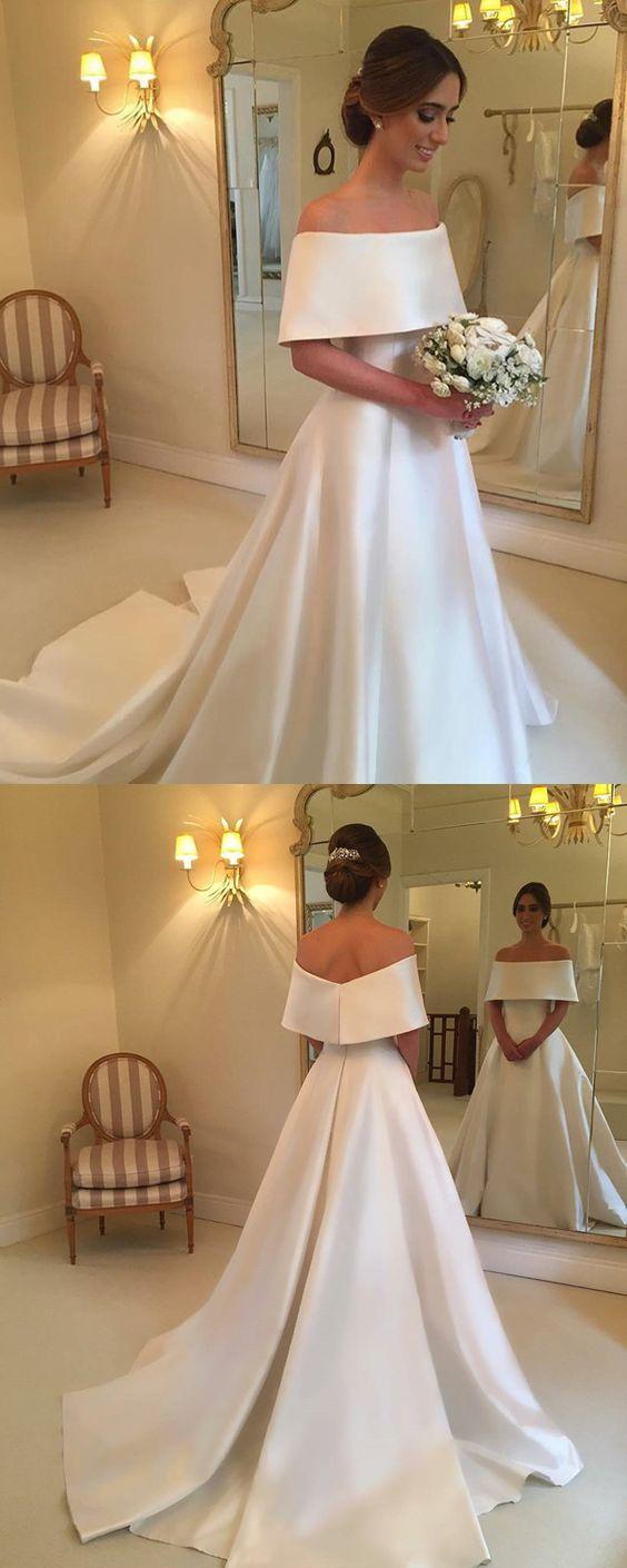 Simple off the shoulder wedding dresses  Simple Off Shoulder Sweep Train Satin Wedding DressesWD
