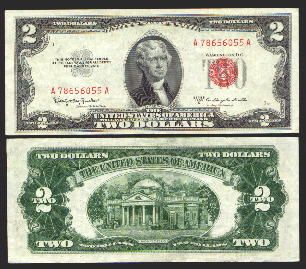 1963 $2 AND 1953 $5 Red Seals 2 Note Paper Money Collection Paper Money: US Coins & Paper Money