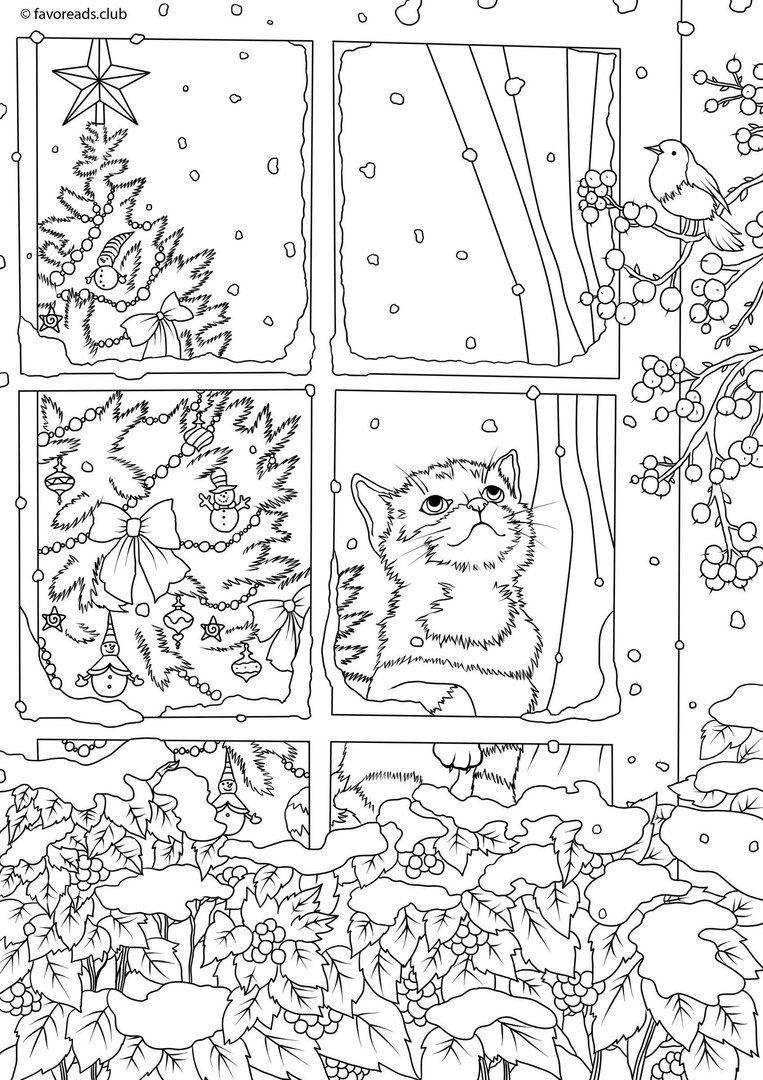 image noel  imprimer chaton par la fenªtre image noir&blanc coloriez ce dessin anti stress et relaxez Free adult colouring page