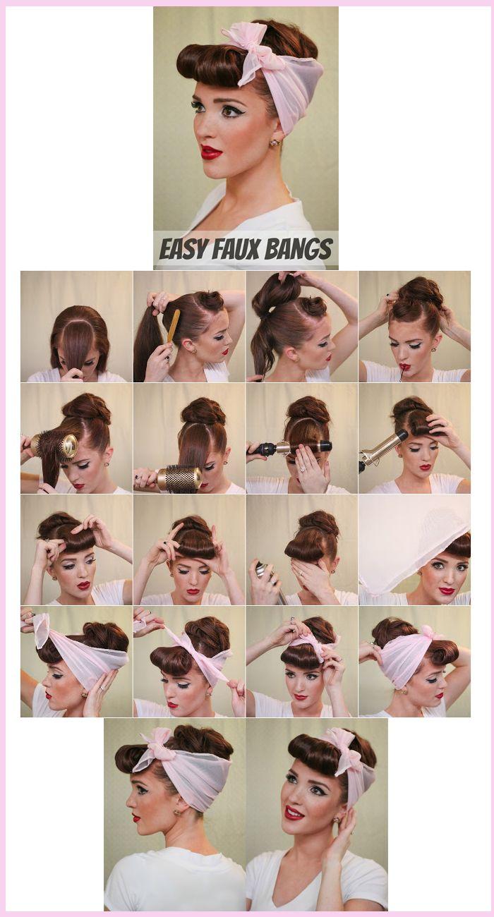 Faux Bangs Tutorial Vintage Hairstyles Scarf Hairstyles Rockabilly Hair