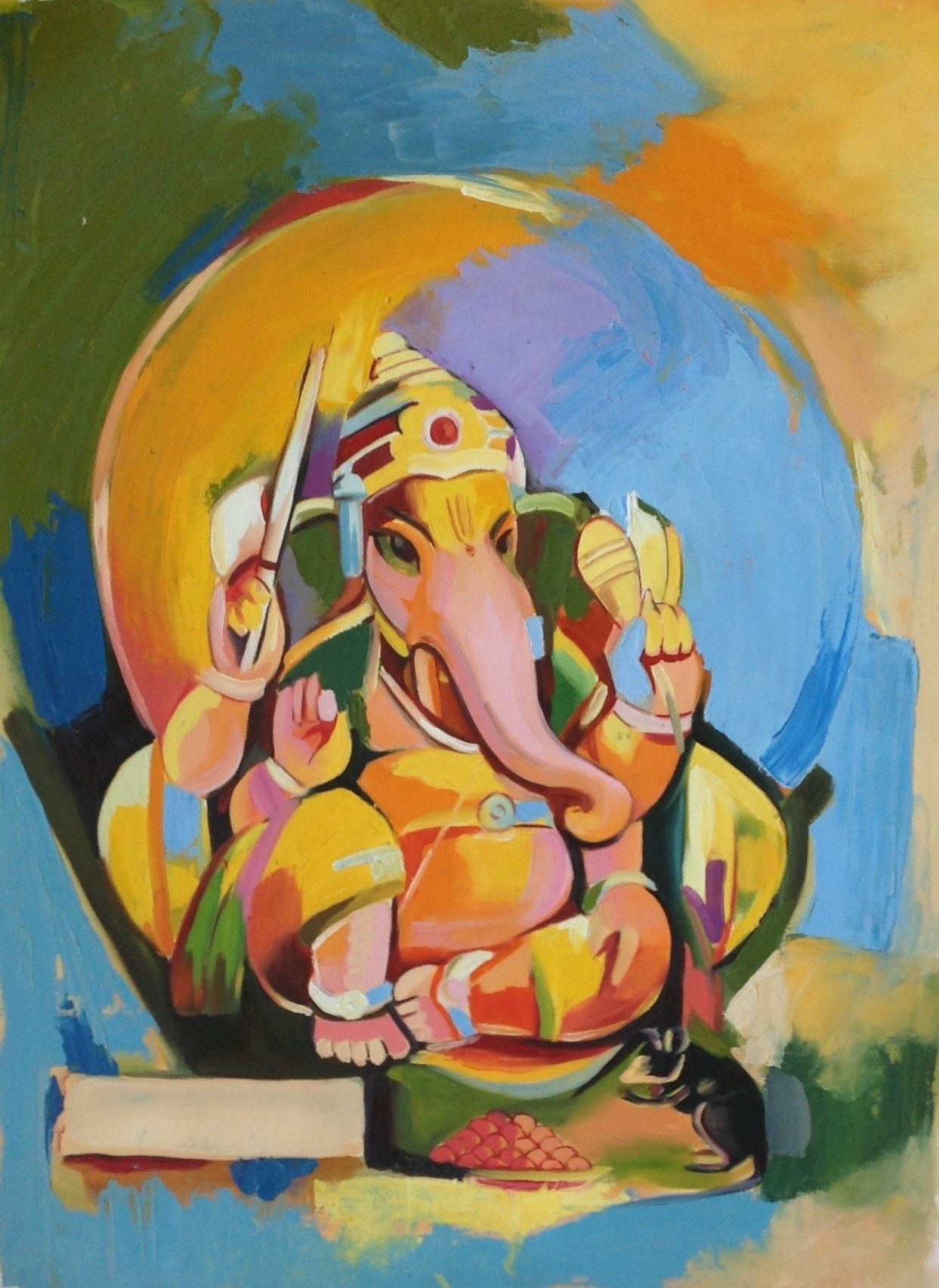 This colorful and detailed Ganesh Painting will make a ...
