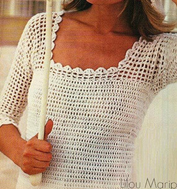 Crochet Top Pattern Vintage 70s Crochet Blouse Pattern Crochet