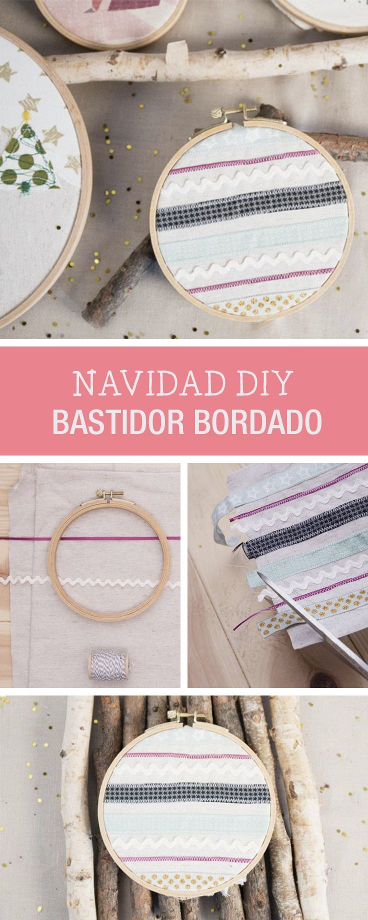 Tutoriales DIY: Cómo bordar un bastidor con decoración navideña vía ...