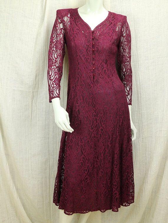 Burgundy wine boho maxi dress long sleeves  Bohemian by natatusy