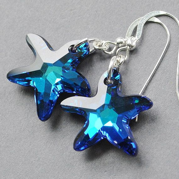 Blue Starfish Earrings Swarovski Crystal By Mydistinctdesigns 25 00