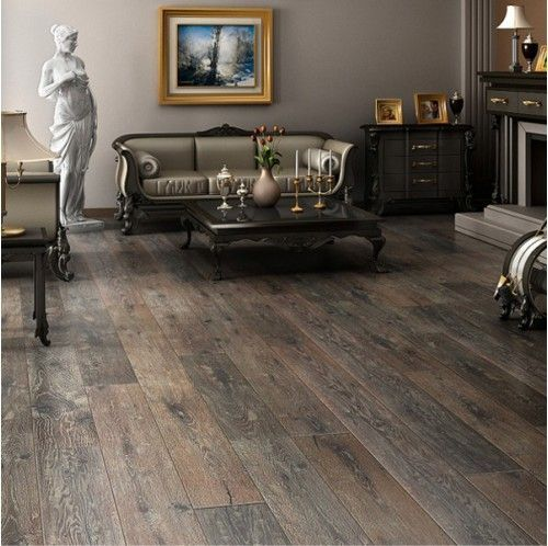 Rustic Wide Plank Wire Brushed Dark Hardwood Flooring Hardwood