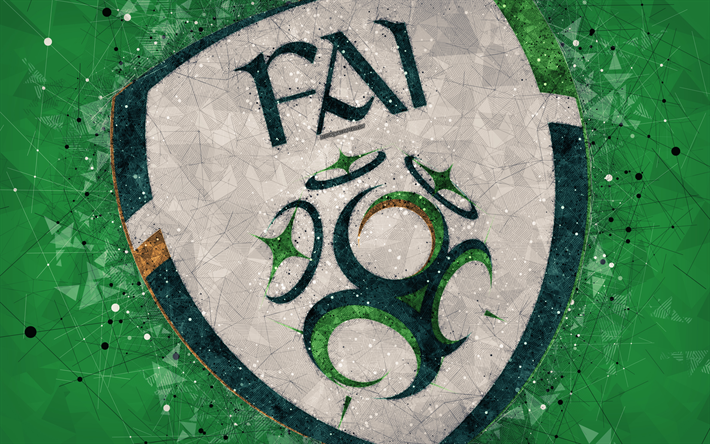 Download Wallpapers Ireland National Football Team 4k Geometric Art Logo Green Abstract Background Uefa Emblem Republic Of Ireland Football Grunge Styl