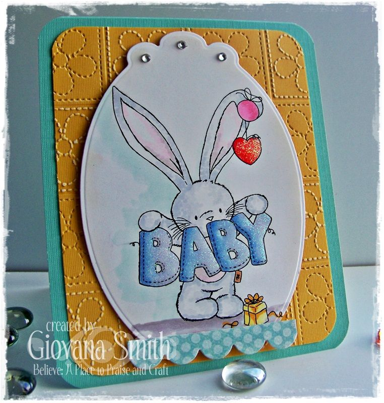 """Project by Giovana Smith. Stamp set used """"Baby"""" from Bebunni Collection. @SpectrumNoir markers used: ◦Bunny: IG1, IG2, BG1, BGR1, BGR3 ◦Bunny Ears: PP1, PP2, PP3, PP4, PP5 ◦Heart: DR3, DR4, DR5 ◦Baby sign: TB4, TB3, TB2, TB1 ◦Gift box: GB3, GB6 @CraftersComapnion, @SpectrumNoir"""