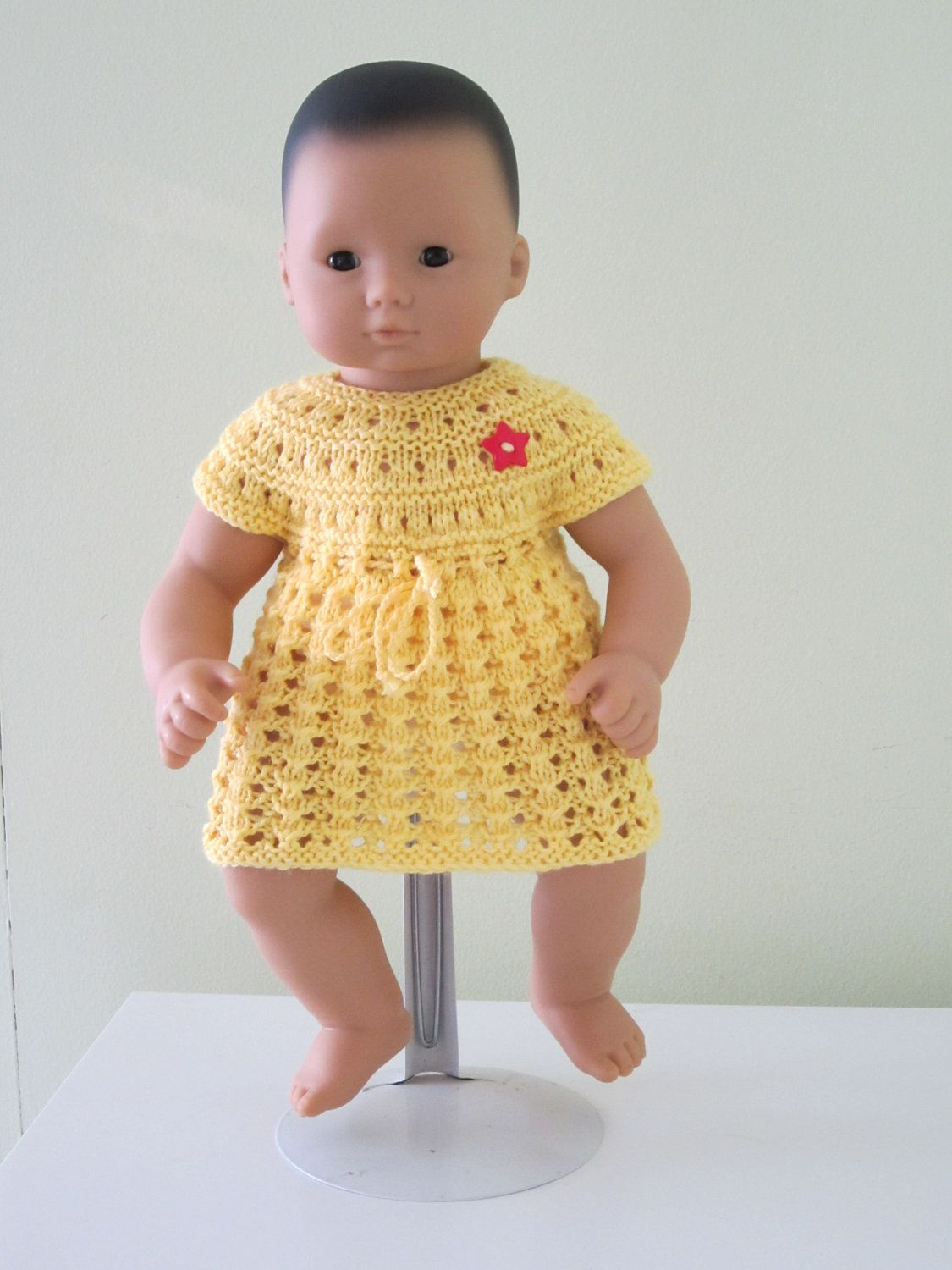 Knitted Bitty Baby dress...15 inches doll ...toy girl.
