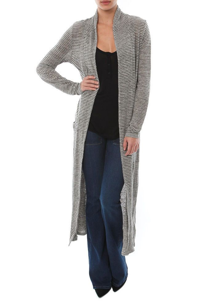 FRAME DENIM Casual Le Duster Long Sleeve Knit Cardigan Sweater Grey Stripe $160 #FrameDenim #Cardigan