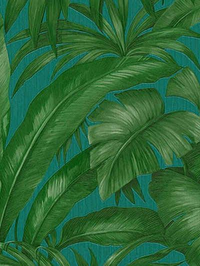 Versace Palm Leaves Wallpaper In Green Modesens Palm Leaf Wallpaper Palm Wallpaper Green Leaf Wallpaper