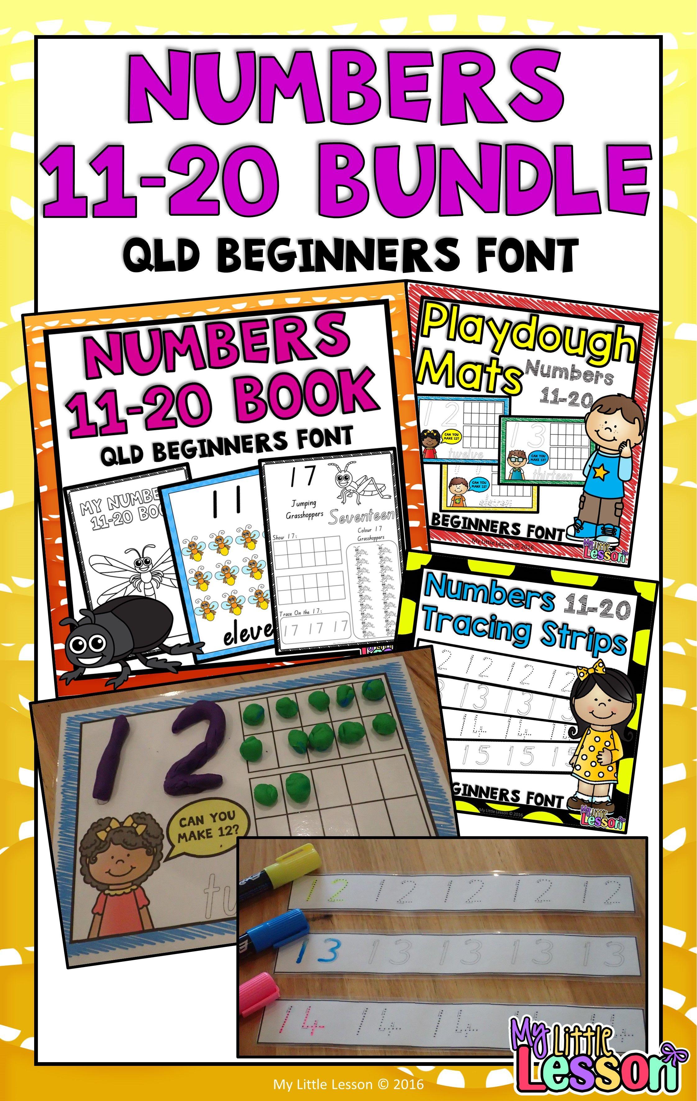 Numbers 11 20 Bundle Qld Beginners Font Worksheets