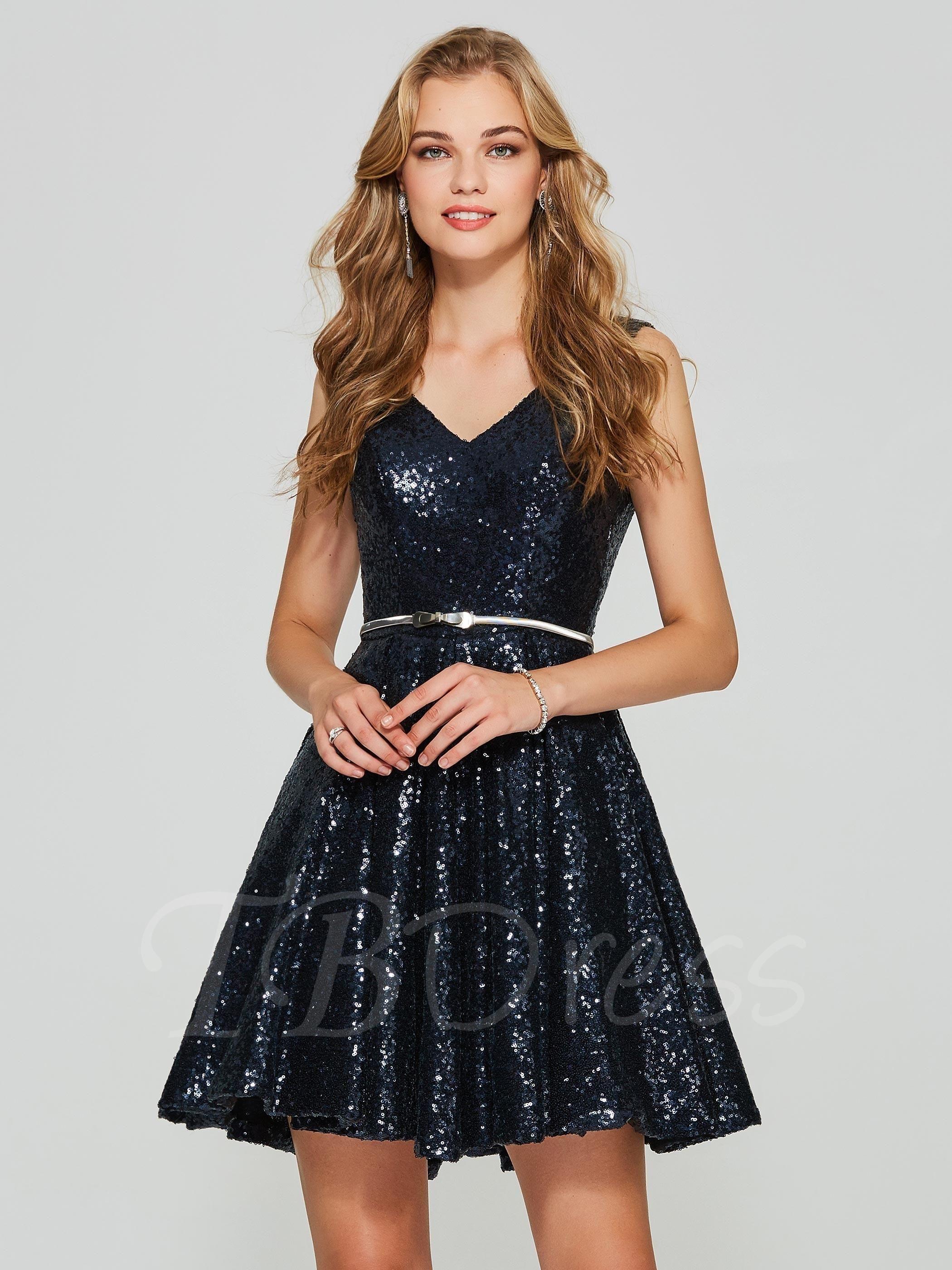 Aline vneck sequins sleeveless short homecoming dress short