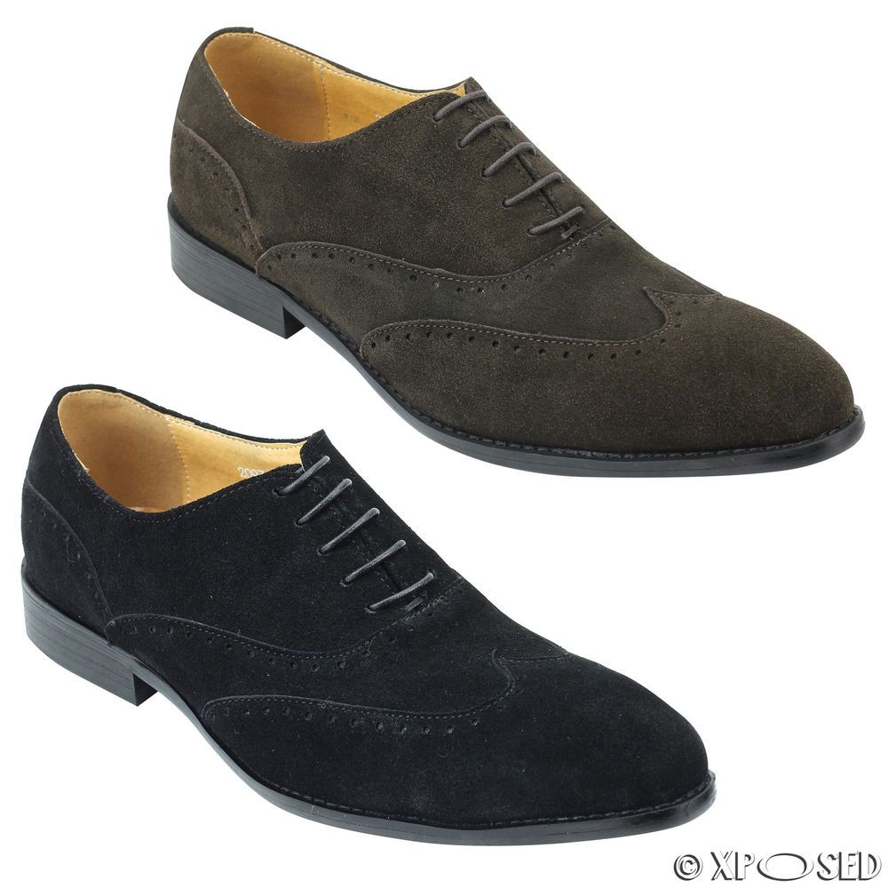 New Mens Black Brown Suede Real Leather Smart Oxford Lace up Shoes 6 7 8 9 10 11