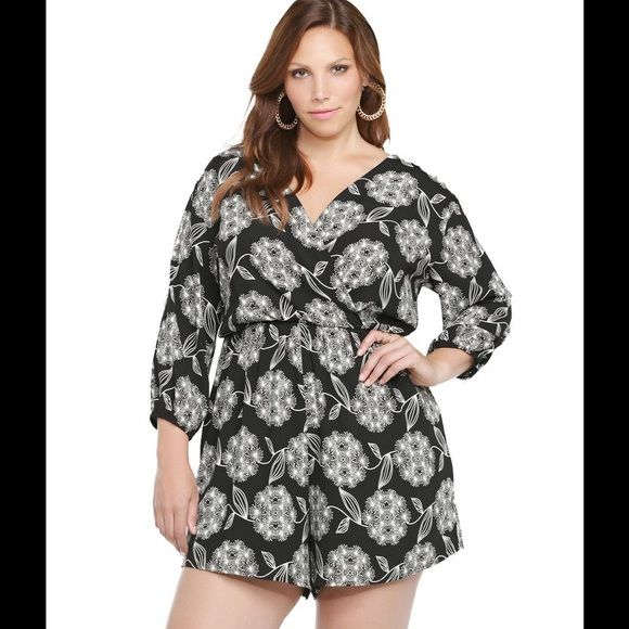 2a0e75b858c Torrid Floral Romper Long sleeve black and white romper with floral  pattern. Adorable and great for Summer! torrid Dresses Mini