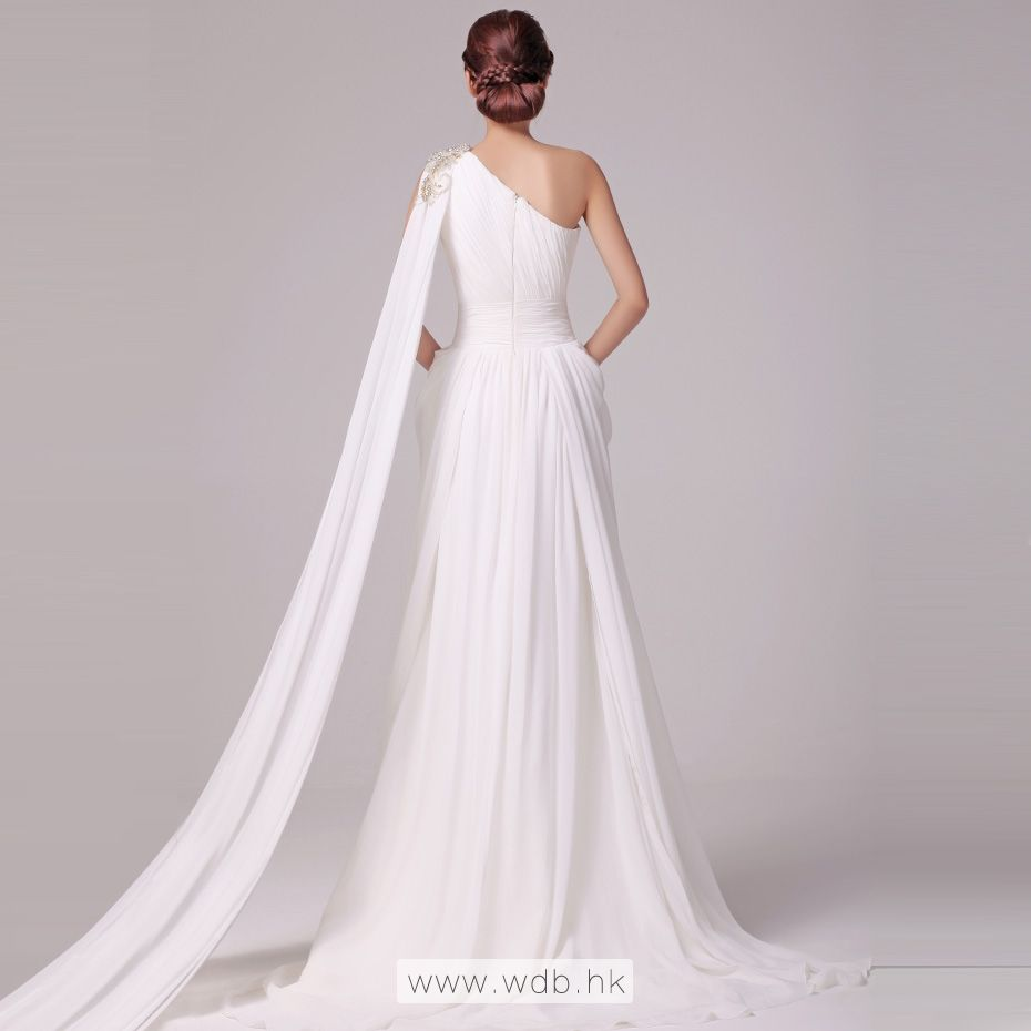Simple beaded one shoulder with side drops chiffon beach wedding