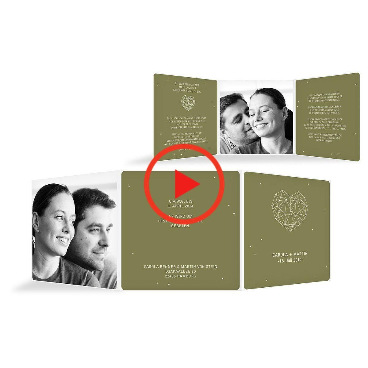 """Photo of Wedding invitation """"heart star"""", mud, square double-folded card, wound (145 x 145mm), 5 pieces"""