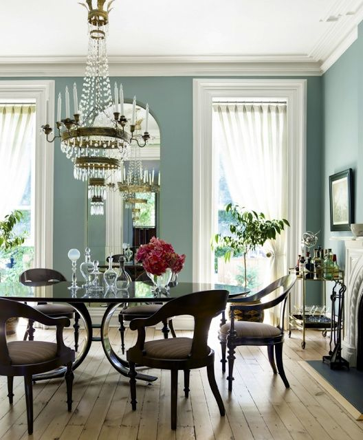 best color for dining room walls | Blue dining room walls, thick white molding, light wood ...