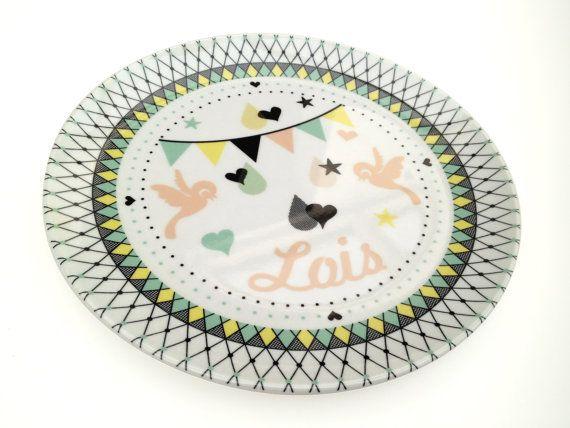 personalized melamine plate by MissHoneyBird on Etsy