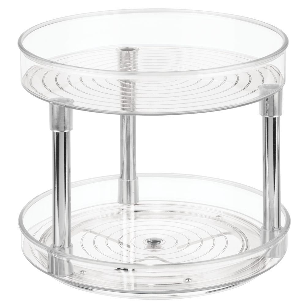 2 Tier Plastic Kitchen Lazy Susan Turntable Storage 9 Diameter In 2020 Food Storage Containers Spice Organization Lazy Susan