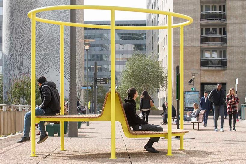 robert stadler installs inside-out street furniture in paris