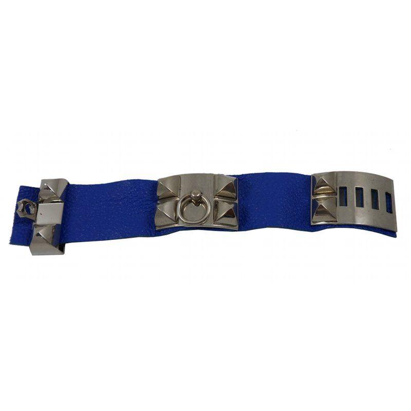Kobalt Blauwe Accessoires.Kobalt Blauwe Leren Armband Met Zilverkleurige Accessoires