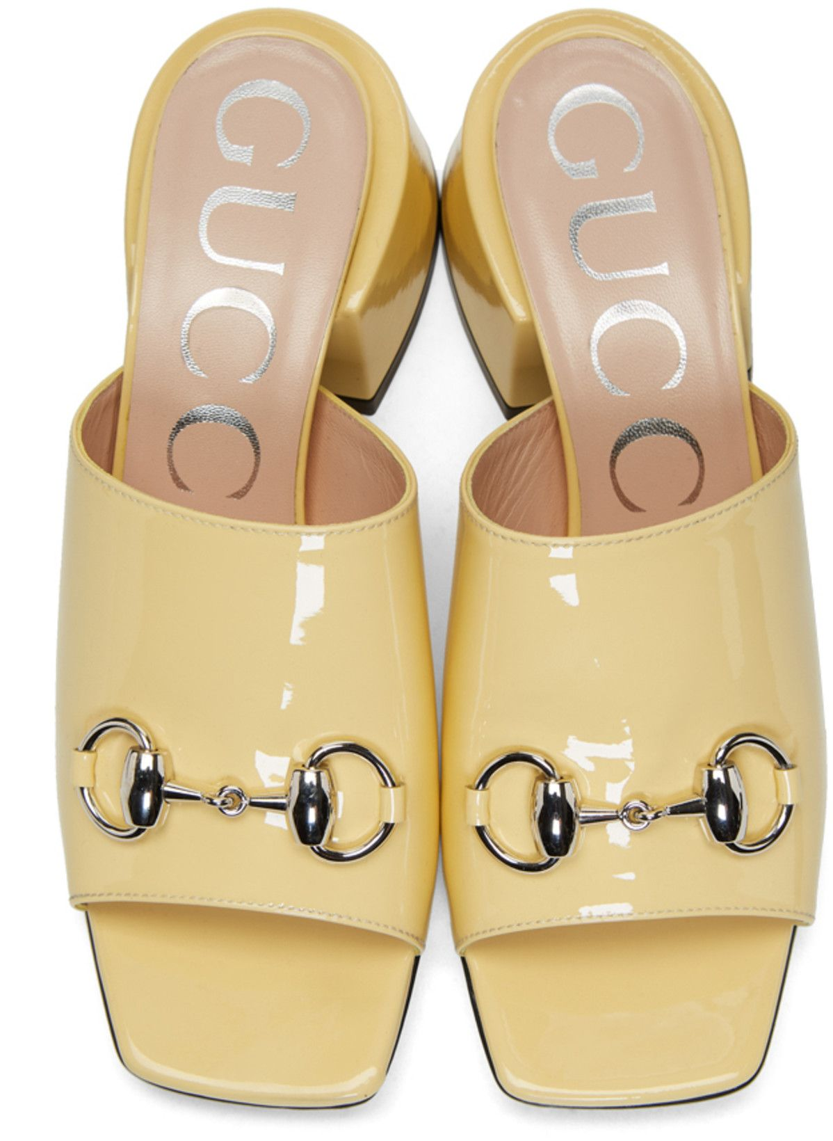 Gucci - Yellow Patent Lexi Heel Sandals