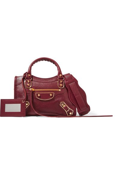 7232fab05b24 Balenciaga - Metallic Edge City Mini Textured-leather Tote - Burgundy