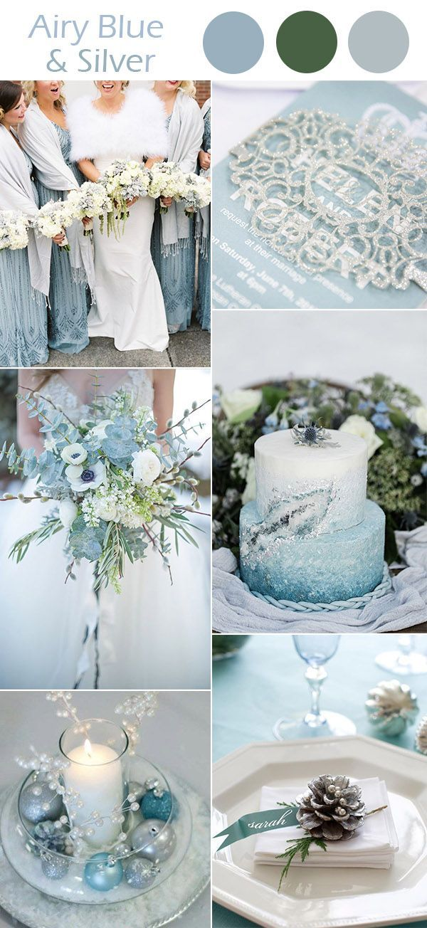 Airy blue and silver winter wedding colors wedding pinterest airy blue and silver winter wedding colors junglespirit Images