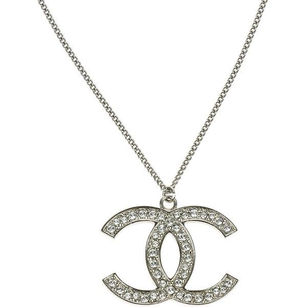 Pre owned chanel silver crystal encrusted cc pendant necklace 895 designer clothes shoes bags for women ssense chanel pendantchanel necklacesilver aloadofball Images