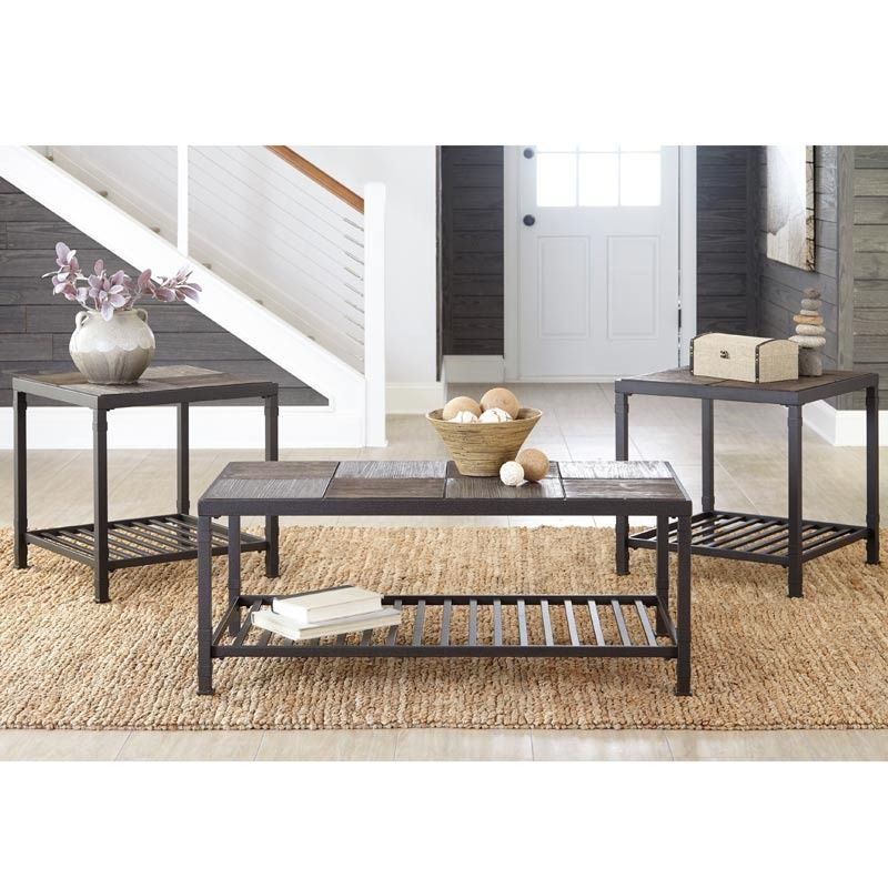 Making Your Table Match In Your Living Room Totally Chic Ashley Chelner Dark Gray 3 Pack Of Tab Coffee Table End Table Set Coffee Table Rustic Coffee Tables Set of two end tables