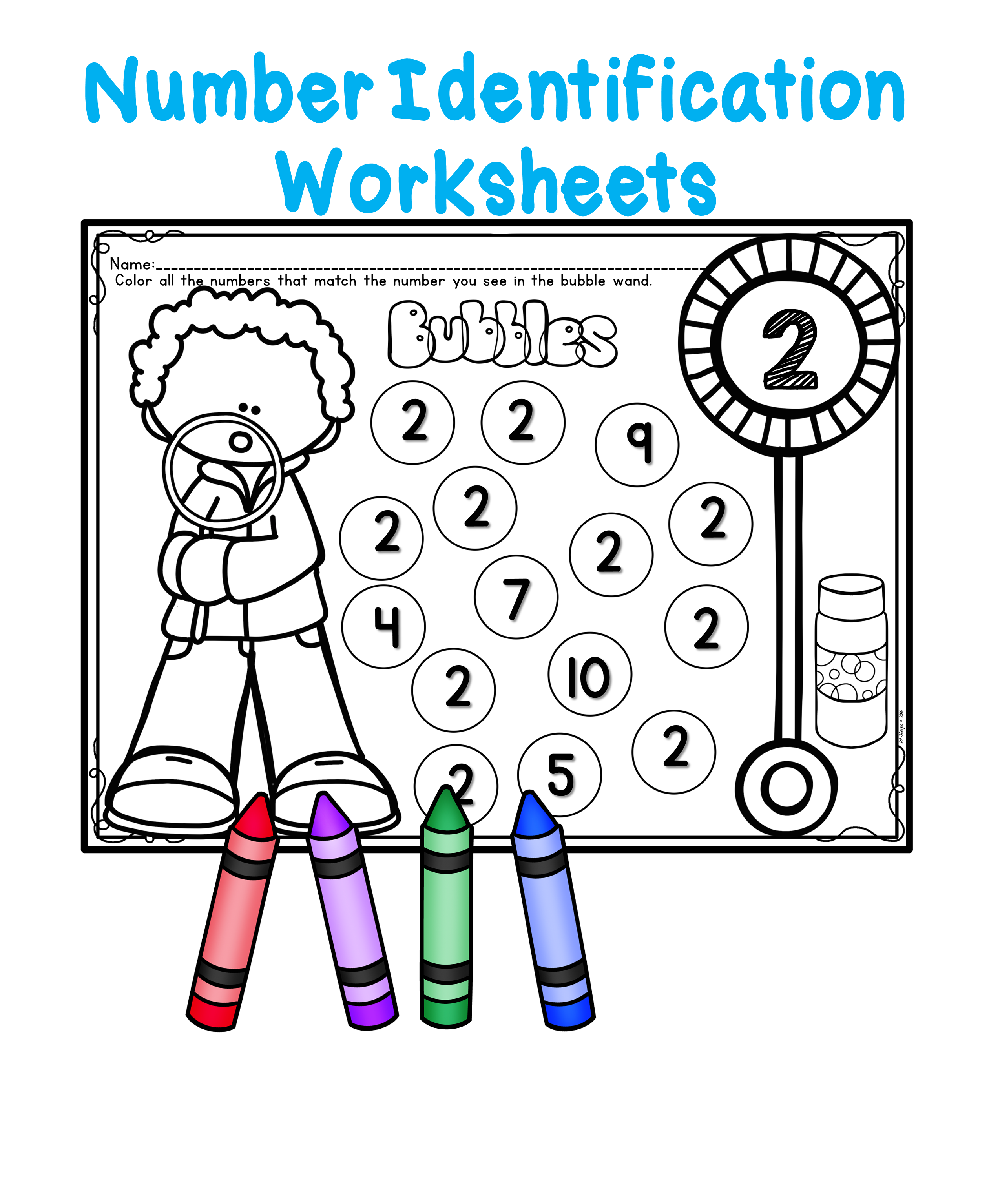 Number Identification Bubble Fun Worksheets | Primary Collaborative ...