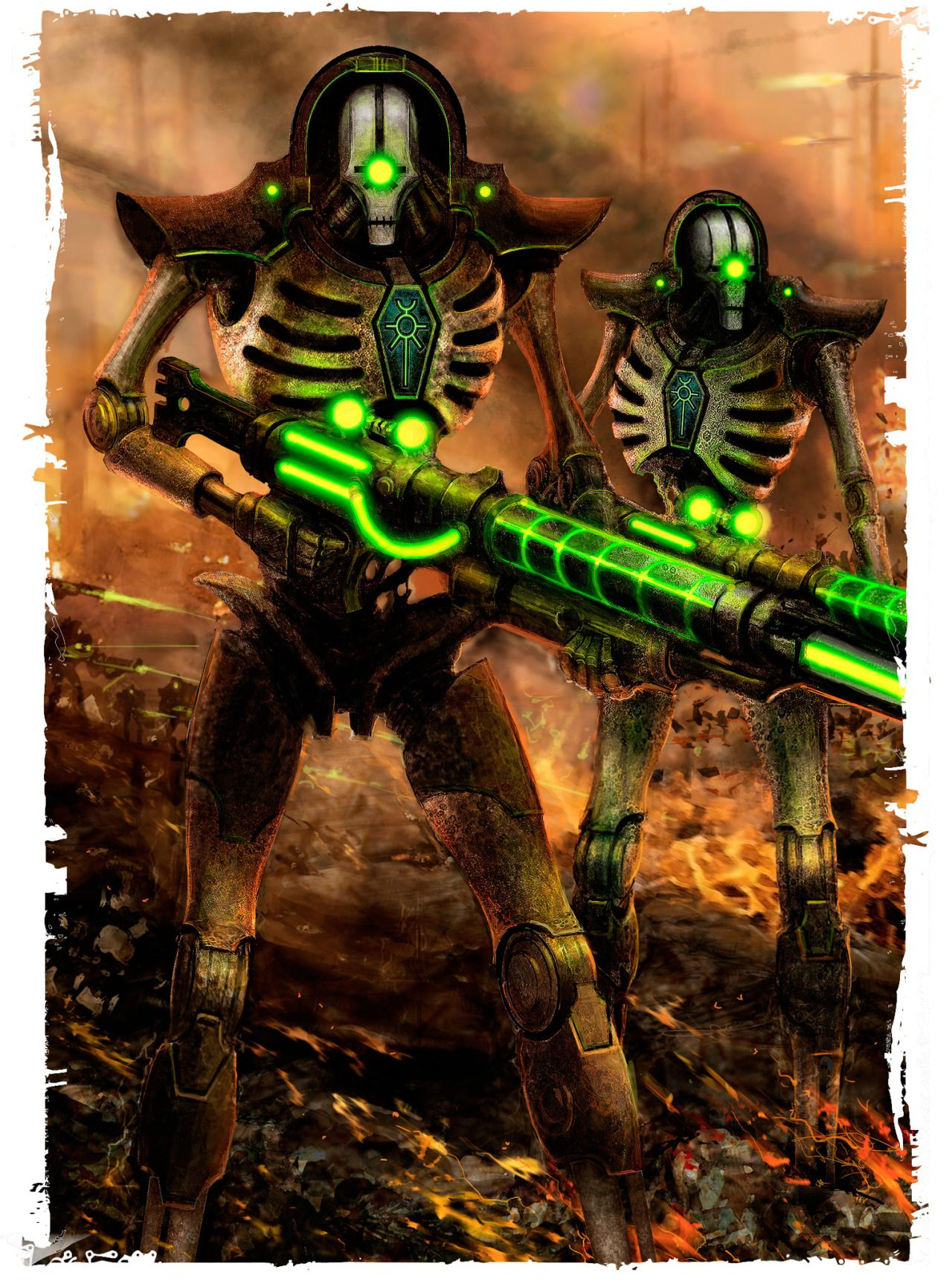 "Necron Deathmarks are the highly-skilled snipers and assassins of the Necron forces, appearing from apparently nowhere and striking with terrible precision. The name is fitting: once given the ""hunter's mark"", a Deathmark's targets are almost certain to meet their deaths scant moments later. Like most Necrons, the Deathmarks' technology lies far beyond the realm of human comprehension and they can effectively phase in and out of normal space-time at will."