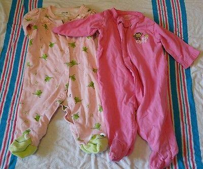 Baby Girl Sleepers Size 0-3 Mos Lot Of 2 Monkey child of mine Frog Little me