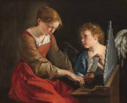 Saint Cecilia and an Angel, c.1617/18 and c.1621/27, Orazio Gentileschi, Giovanni Lanfranco; the saint is portrayed with organ symbolic attribute. (National Gallery of Art, Washington DC)