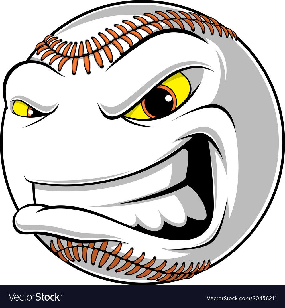 Angry Ball For Baseball Vector Image On Vectorstock Baseball Vector Baseball Vector Images