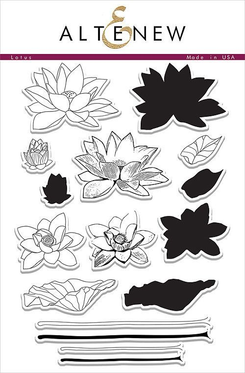 """ALTENEW: Lotus (6""""x 8"""" Clear Photopolymer Stamp Set) This package contains Lotus: sixteen individual image stamps. *FREE SHIPPING ON THIS ITEM*"""