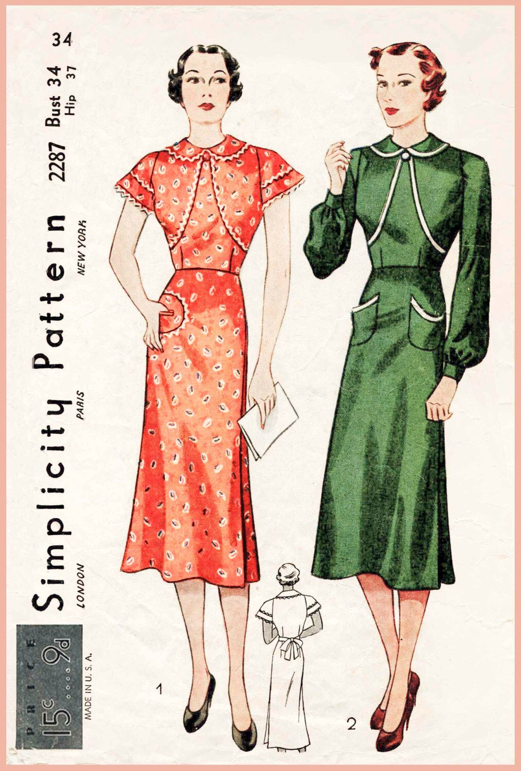 Vintage sewing patterns image collections craft decoration ideas 1930s 30s vintage sewing pattern wrap dress frock or apron bishop 1930s 30s vintage sewing pattern jeuxipadfo Choice Image