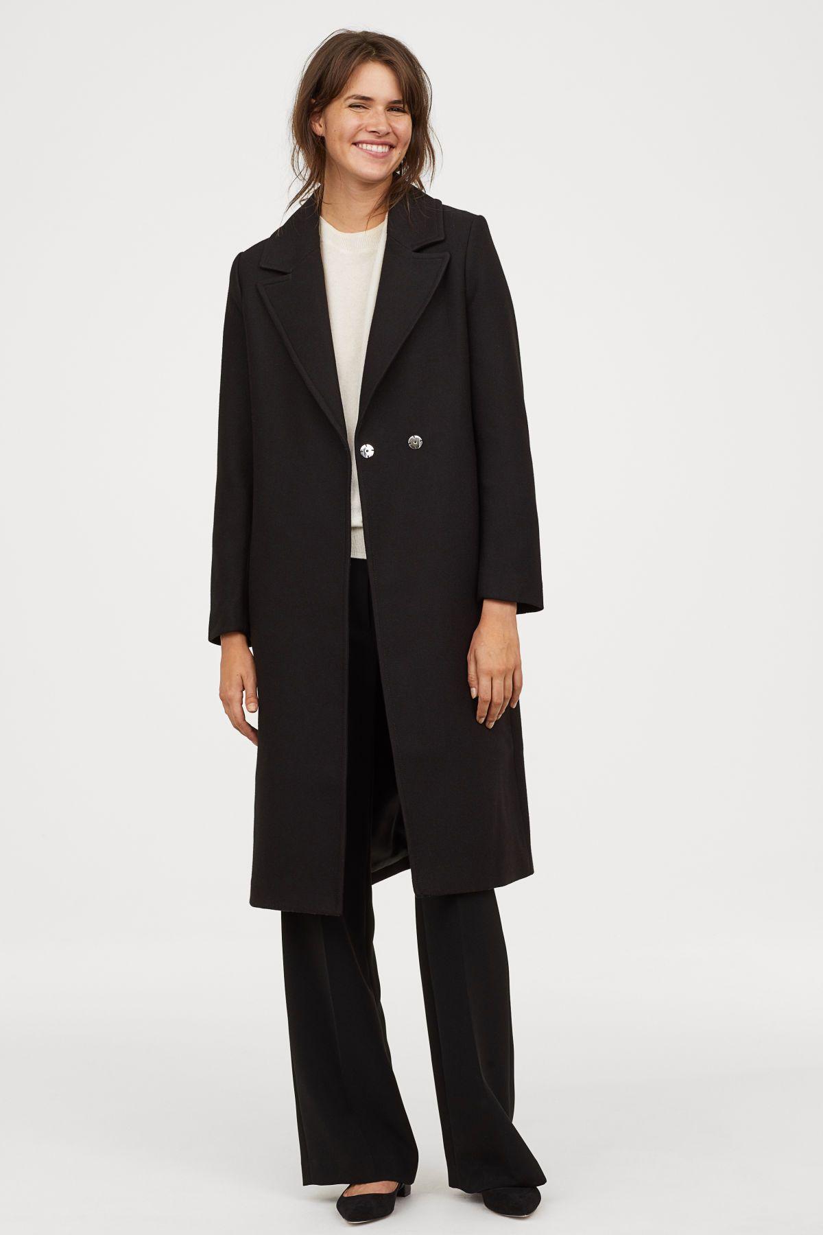 Mantel aus Wollmischung | Schwarz | DAMEN | H&M DE | Outfit