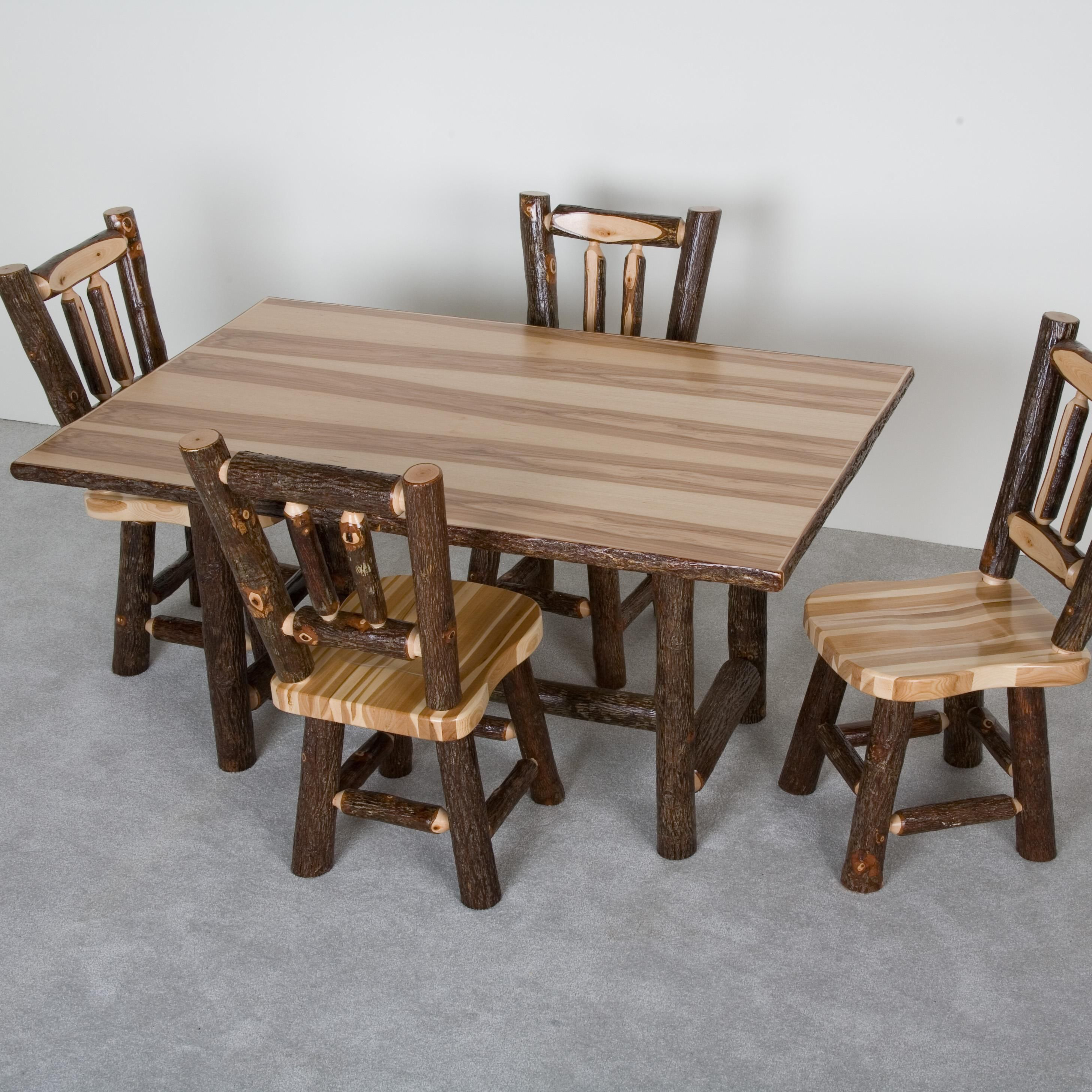Hickory Rectangular Dining Table and Saddle Chairs by