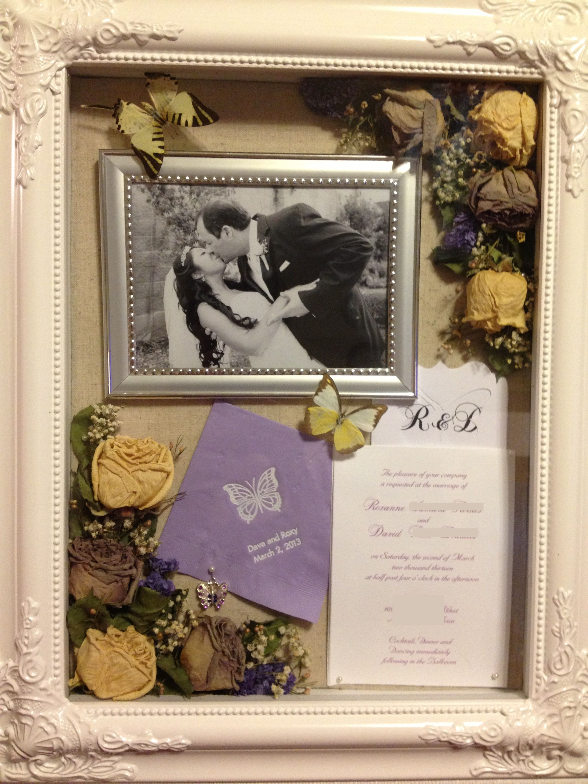 Wedding shadow box. $30 after coupon at Hobby Lobby. What\'s inside ...