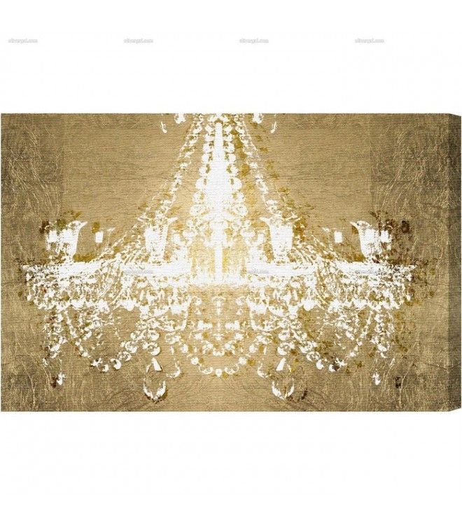 Chandelier Canvas Art On Gold Wall