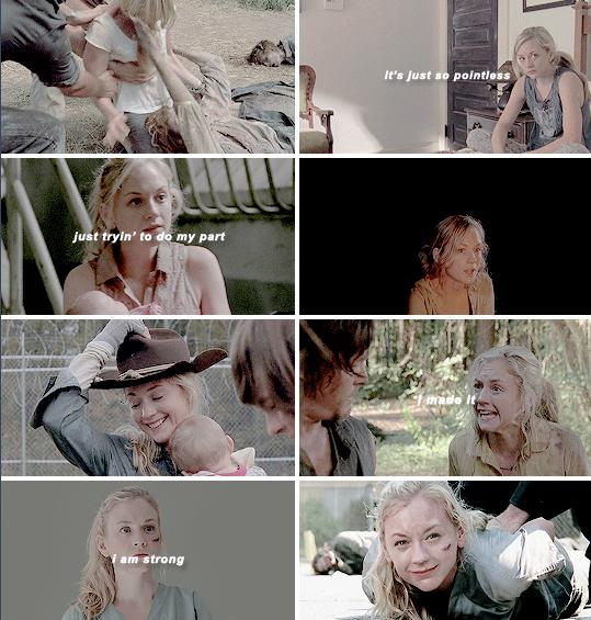 """""""Isso é tão injusto"""" - Beth em S2 / """"Só eu fazendo a minha parte"""" - Beth em S3 / """"Eu fiz isso [sobrevivi]"""" - Beth em S4 / """"Eu sou forte"""" - Beth em S5"""