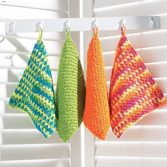 Follow this free crochet pattern to create these dishcloths using ...