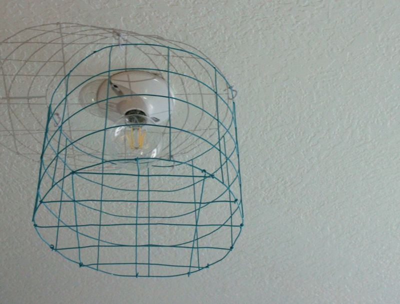 DIY Wire Cage Light Fixture | Light turquoise and Lights