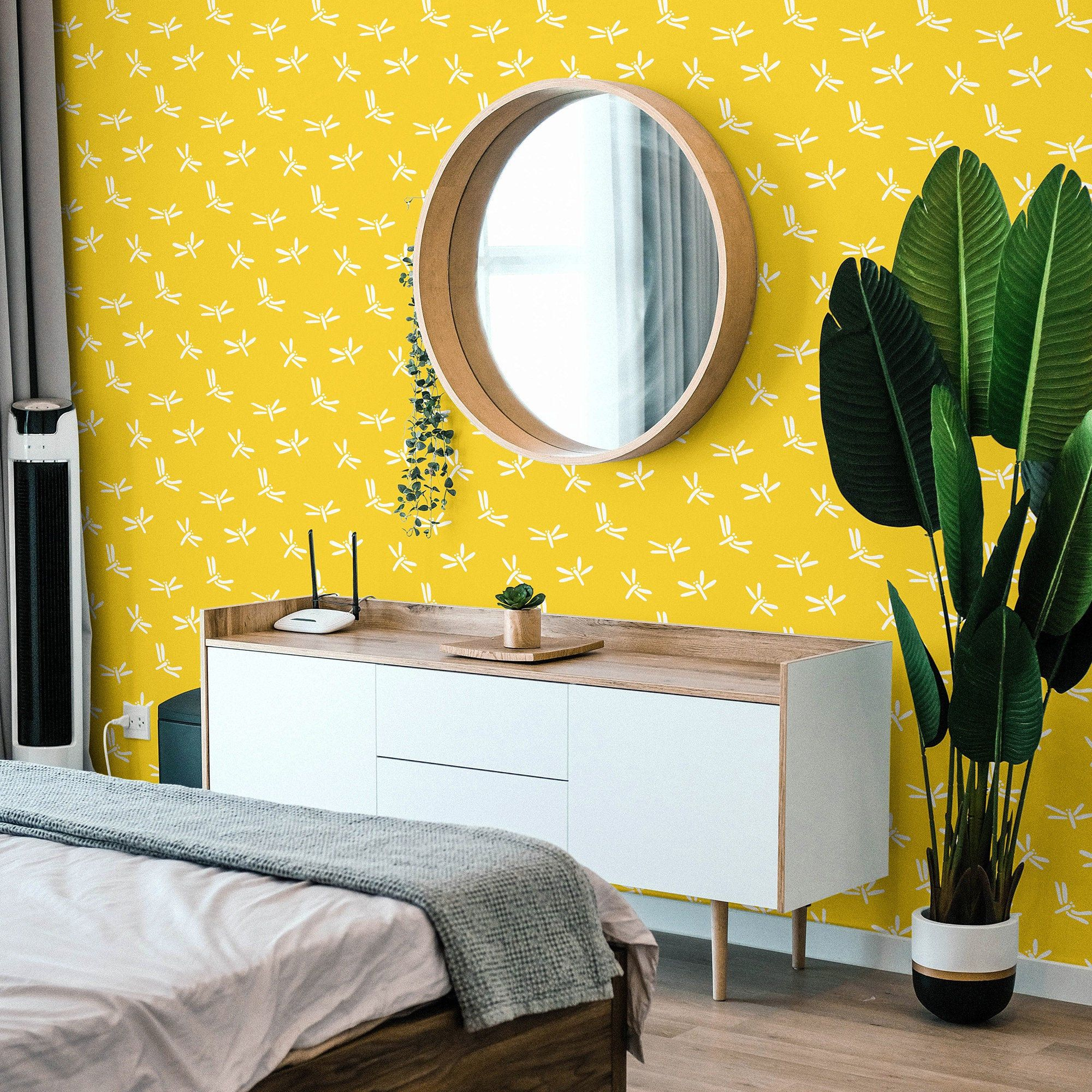 Yellow Dragonfly Wallpaper Peel And Stick Bright Self Etsy Dragonfly Wallpaper How To Install Wallpaper Room Makeover