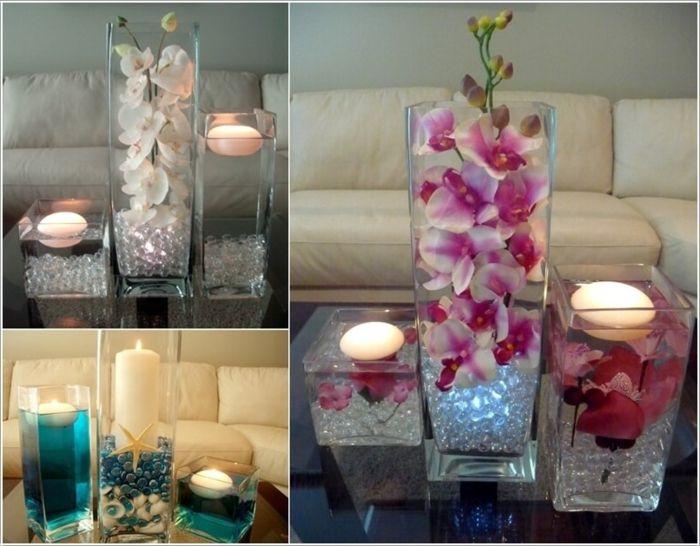 Wohnzimmer Deko Mit Wasserkerzen Dekorativen Steinen Muscheln Und Blumen