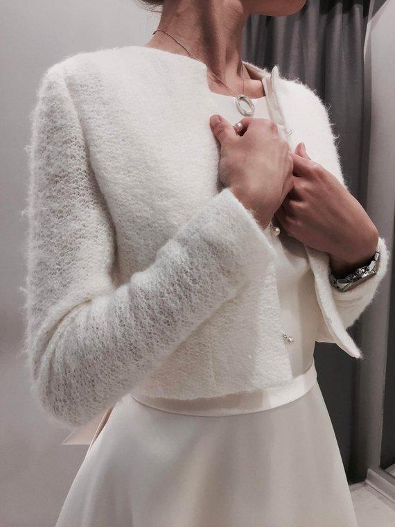 Photo of Knitted bridal jacket, wool bridal jacket, knitted bridal bolero, knitted bridal coat, knitted wedding jacket, bridal jacket, bridal shrug